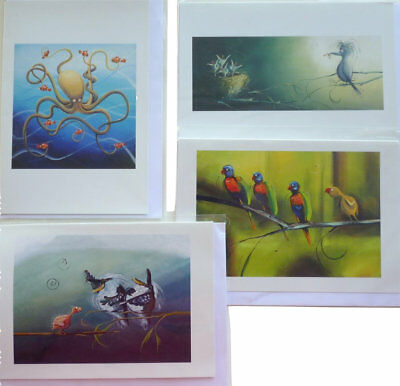 NEW 4 Pack of Quality Greeting Cards by artist Michelle Pike Funny Australian...