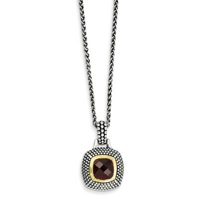Sterling Silver Gold-tone Flash Gold-plated Garnet Necklace - QTC31
