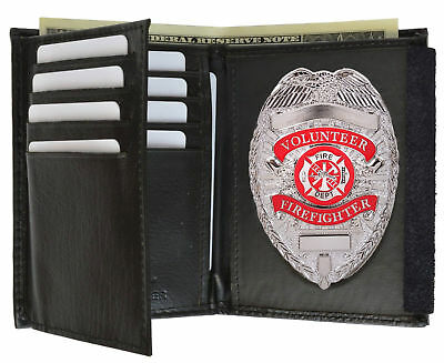 Delux Firefighter Metal Badge and WITH LEATHER WALLET Badge Holder