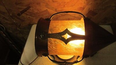 Antique Cast Brass & Copper Wall Light & Amber Glass Shade  No. 2