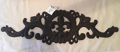 "Cast Iron Fleur di Lis Metal Indoor Outdoor French Classic Decor 18.5"" x 5.5"""