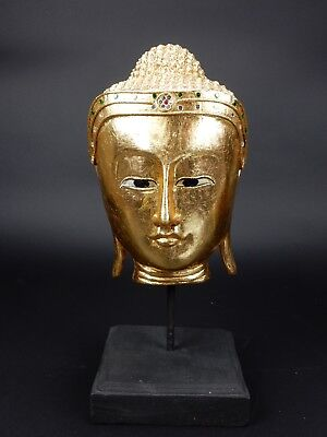 """Intricately Carved Gilt Wood Thai Buddha Bust with stone laced crown 14.5"""""""