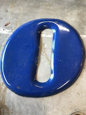"VINTAGE BLUE GOODYEAR SERVICE LETTER  PORCELAIN GAS & OIL SIGN For The ""O"" Only"