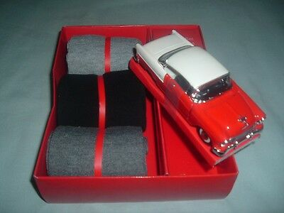 3 Pair Size 10-13 Dress Socks New-+-- Red And White 55 Chev Car(Doors-Hood-Open)