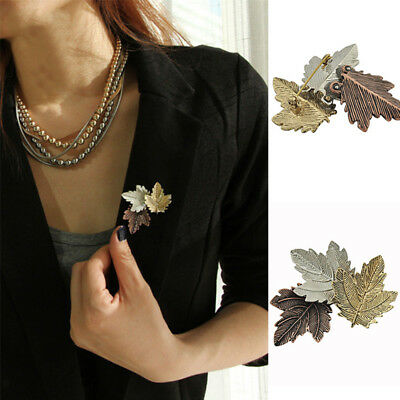 Chic Maple Leaf Scarf Shawl Safety Pin Brooch Sweater Clip Vintage Jewelry Z5TY