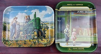 John Deere A Friend In Need & Lunch Time Trays Farm Country Tractor Decor Metal