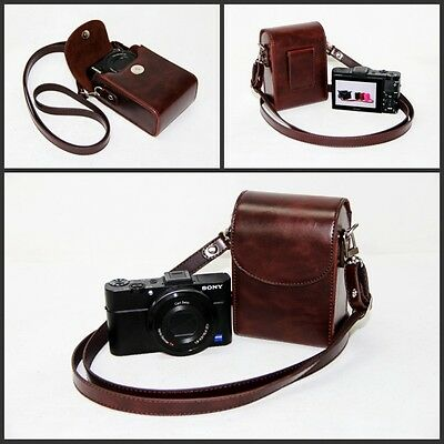 coffee / brown camera leather case bag pouch for Nikon Coolpix W300 W100