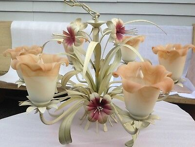 Vintage Toleware Lily Flower Six Lights Chandelier With Floral Shape shades