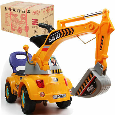 Electronic Construction Excavator Kids Baby Scooter Truck Walker Car Ride On Toy