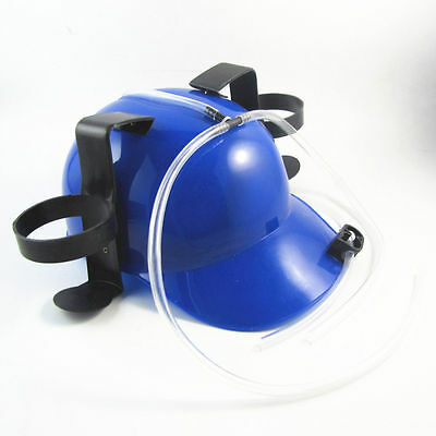 Funny Beer Drinking Blue Helmet Hat Game Drink Fun Party Dispenser