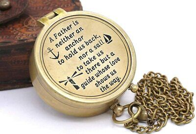 """""""I Am the Master of My Fate"""" Solid Brass Compass with Wooden Case"""