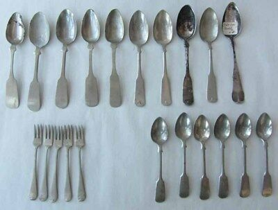 Antique Mixed Lot 24 Spoons Forks Albert Pitts Simpson EPNS JNM Hall&Elton Roger