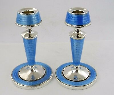 Art Deco SILVER & BLUE GUILLOCHE ENAMEL 14cm CANDLESTICKS, 1928 Fine condition