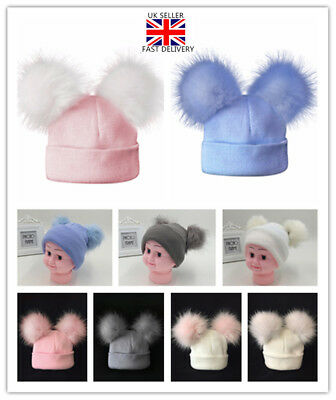 Baby Warm Fur Pompom Hat Double Fur Pom Knitted Beanie Hat Cap Boys Girl Gift UK