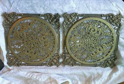 Antique Pair Quality Brass Table Protectors Trivets. Ornate Period