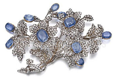 8.75cts ROSE CUT DIAMOND SAPPHIRE .925 STERLING SILVER BROOCH