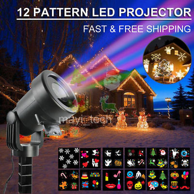 12Patterns LED Laser Projector Light Christmas Xmas Party Outdoor Landscape Lamp