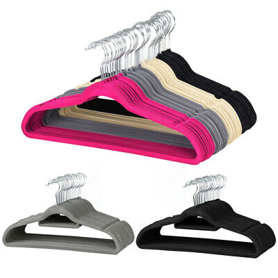100PCS Space-saving Non Slip Flocked Velvet Hangers with 360° Swivel Hook