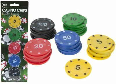 40 Marked Casino Chips Poker Tokens Coloured Number 5 10 20 50 100 Gambling Game