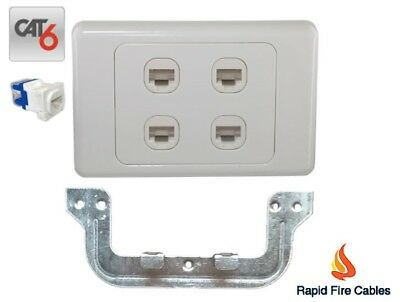 4 Gang Wall Plate Wallplate Clipsal Style 4 x Cat 6 RJ45 Network with Bracket