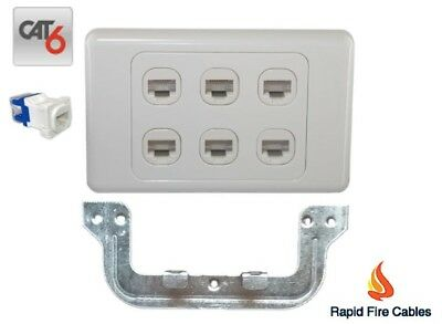 6 Gang Wall Plate Wallplate Clipsal Style 6 x Cat 6 RJ45 Network with Bracket
