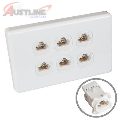 6 Gang RJ45 Cat6 Wall Plate Clipsal Style Network LAN 6Port +C-Clip Aw6C180