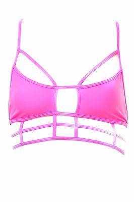 One Teaspoon Women's Superman Bodice Bikini Top Hot Pink Size L RRP $54 BCF78