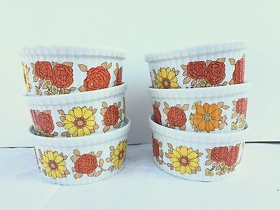 Set of 6 Retro Vintage Pillivuyt Ramekins Bakeware Orange Yellow Flowers