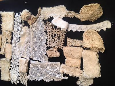 22 Pieces Lot Antique & Vintage Lace Irish Crochet Trim Edging Doll Millinary