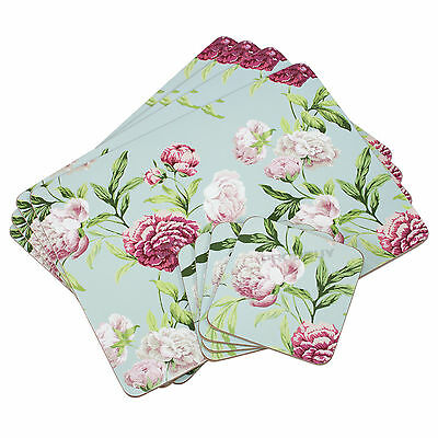 Set of 4 Placemats & Coasters Cork Table Place Settings Mats Duck Egg Floral
