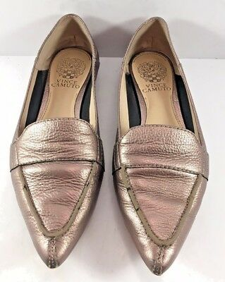 6c6382c1009 Vince Camuto Pewter Leather Maita Pointy Toe Flats Womens Size US 6.5M