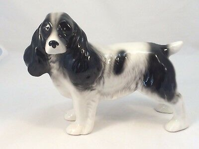 Melba Ware Ceramic Spaniel Black and White Figurine Ornament Vintage
