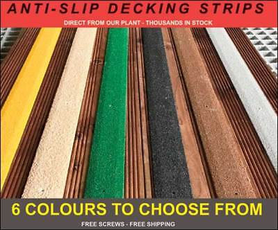 Anti Slip GRP Strips for slippery decking. Free Drilling, shipping & Screws