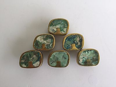 6 Vintage/Antique Brass/Turquoise Pepe Mendoza Drawer Pulls                 #297