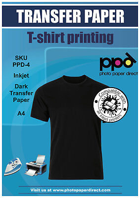 PPD A4 Dark Inkjet T Shirt Transfer Paper X 100 With Free P&P
