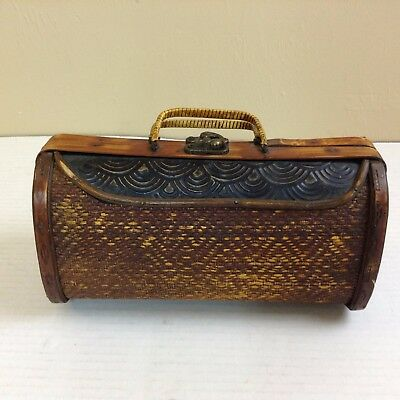 Unique Women's Hand Made Wooden Purse With Brass Clasp And Hinges          #1400