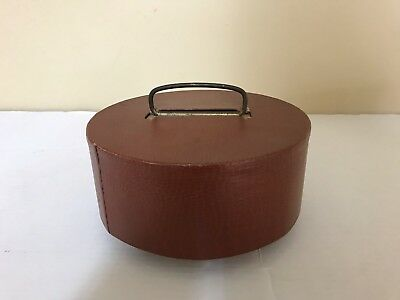 Antique Leather Poker Chip Holder Caddy W/lid Metal Handle Wood Carousel#1174