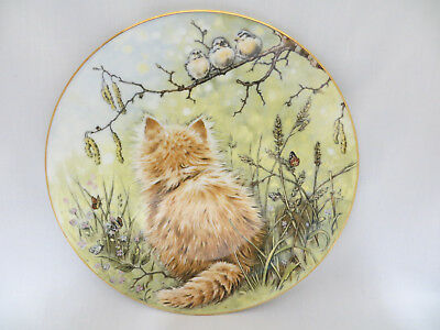 Bird Watcher Kitten Classics Collector Plate Royal Worcester Crown Ware 1985
