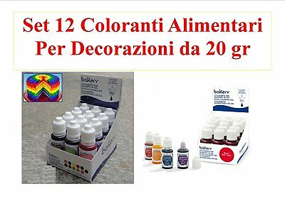 Set 12 Coloranti in gel da 20 gr. linea bakery- DECORA