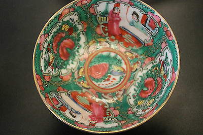 VINTAGE Hand Painted Chinese/Hong Kong Porcelain Rice Bowl ORNATE multi color