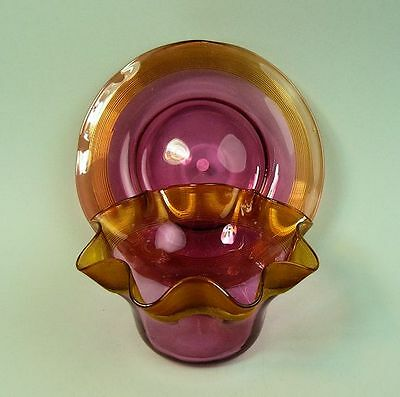 A Victorian Antique Amber & Cranberry Glass Bowl & Stand C.1880