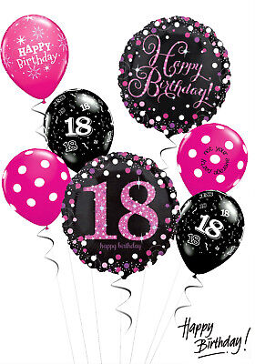 18th Birthday Black And Pink Balloon Bouquet Adult Party Decorations