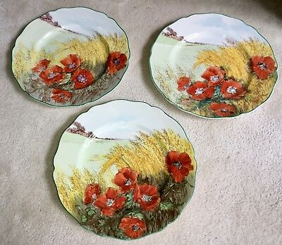 """3 Royal Doulton Poppies In A Cornfield 10.5"""" Plates"""
