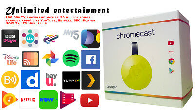 GOOGLE CHROMECAST HDMI WiFi Media Streaming Device, Miracast 1080p
