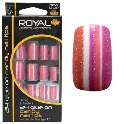 24 Faux ongles & colle Candy de Royal rose orange - pink orange false nails