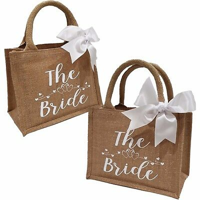 Bride Bridal Bags Bridesmaid Gifts Wedding Shimmer Jute ANY ROLE Personalisation