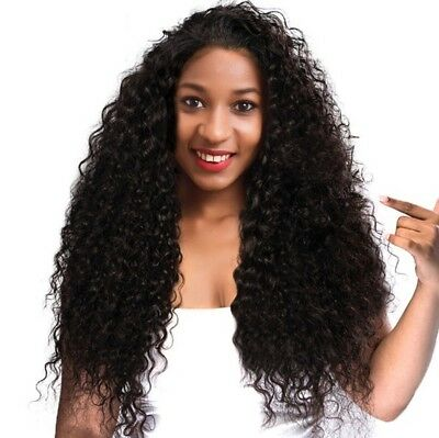 Women Curly Black Hair Wig Synthetic 100% Lace Front Wigs Natural Looking Wigs