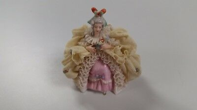 Antique German Dresden Lace Lady Porcelain Figurine