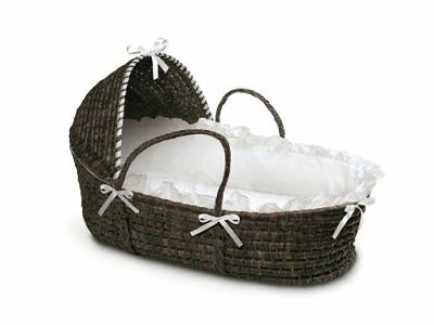 BDBS-00962-ESPRESSO Moses Basket with Hood and White Bedding