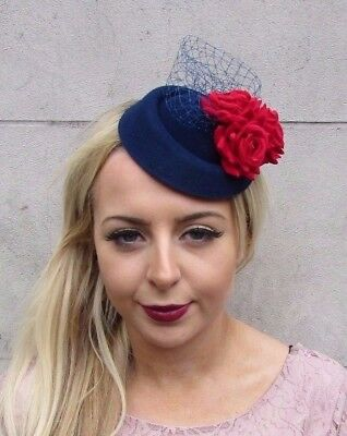 Navy Blue Red Rose Flower Pillbox Hat Fascinator Races Cocktail Headpiece 4414